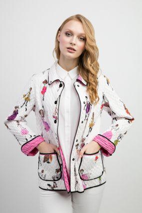 Модная женская стеганая куртка с накладными карманами