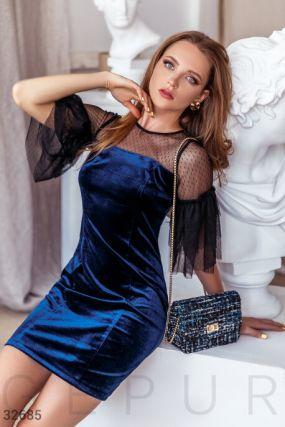 Бархатное синее платье