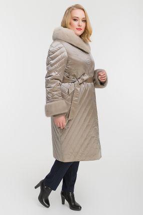 Женское стеганое пальто на большой размер