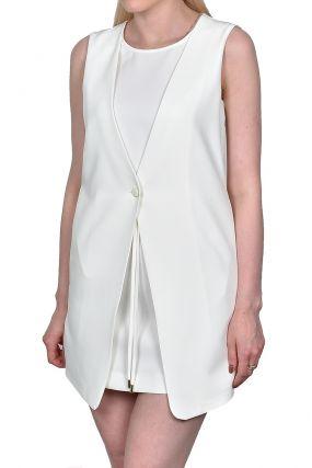Белое мини-платье с имитацией жилета