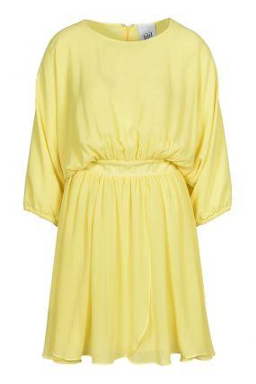 Желтое мини-платье с драпировками