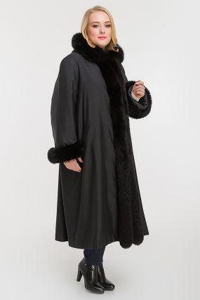 Женское пальто на меху для зимы на большой размер