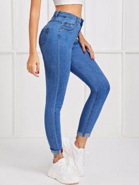 Облегающие джинсы с текстовой вышивкой