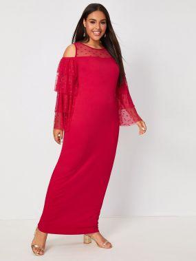 Платье размера плюс с открытыми плечами и сетчатой вставкой