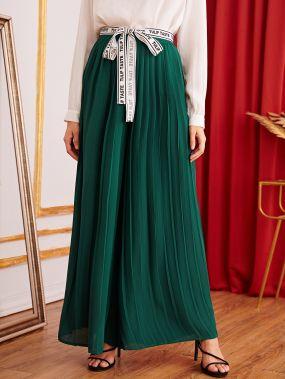 Плиссированные длинные брюки с поясом