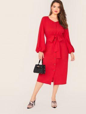 Платье-рубашка размера плюс с оригинальным рукавом и поясом