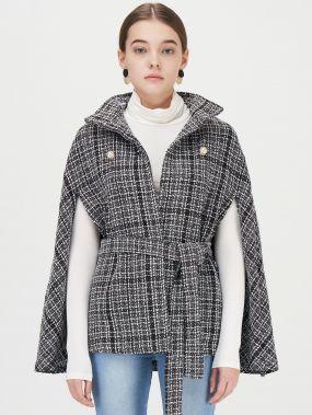 Двубортное твидовое пальто-пончо
