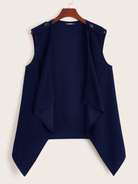 Однотонное асимметричное пальто без рукавов