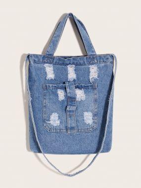 Рваная джинсовая сумка-тоут