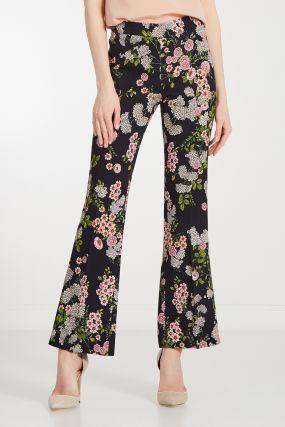 Черные брюки с цветочным принтом