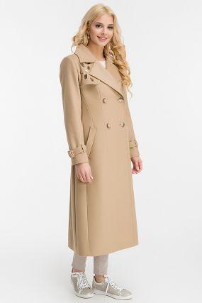 Двубортное весеннее приталенное пальто с кокеткой