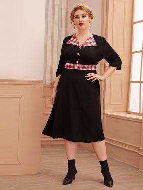 Контрастное платье-рубашка размера плюс в клетку