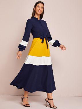 Контрастное платье-рубашка с поясом