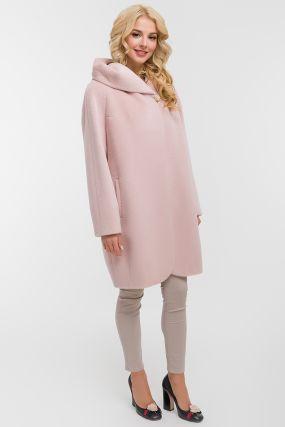 Женское пальто кокон из альпака с капюшоном