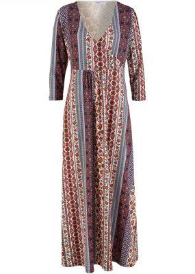 Макси-платье с принтом в стиле пэчворк