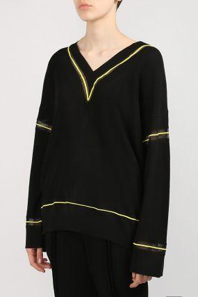 Черный пуловер с желтой каймой