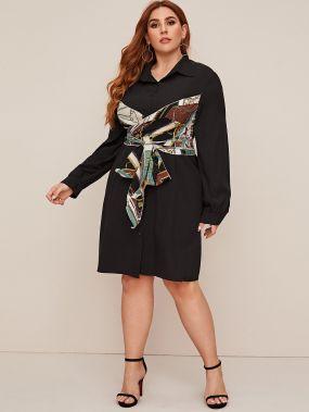 Платье-рубашка размера плюс с принтом шарфа