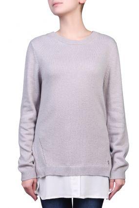 Удлиненный серый свитер