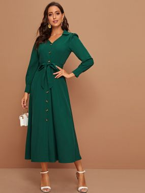 Платье-рубашка с пуговицами