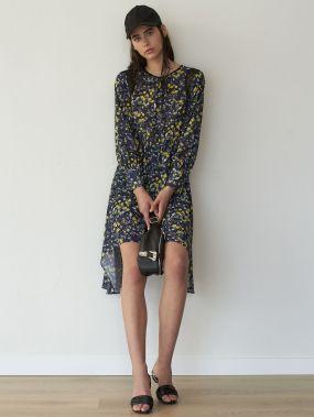 Премиум Платье со сетчатой вставкой и цветочным принтом