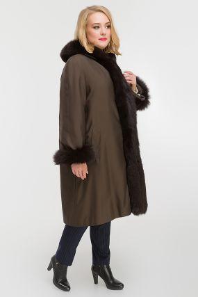 Расклешенное зимнее пальто на меху кролика