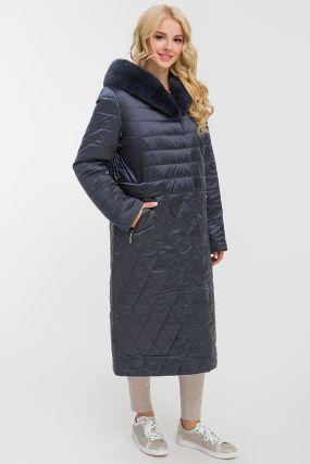 Длинное стеганое пальто на верблюжьей шерсти