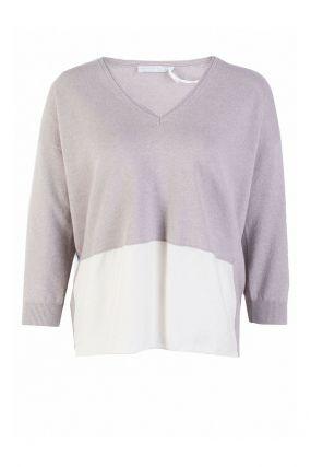 Серый пуловер с удлиненной спинкой