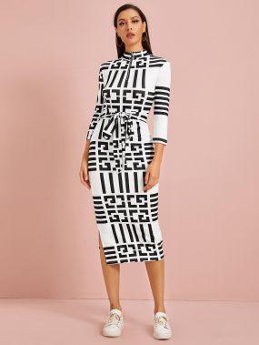 Платье-карандаш на молнии с разрезом и поясом