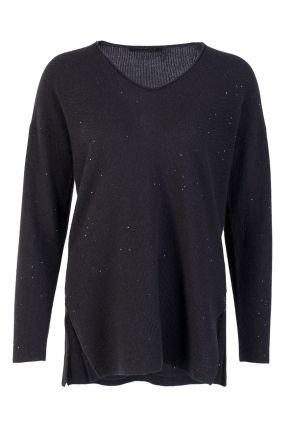 Черный трикотажный пуловер с пайетками