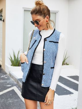 Твидовое пальто-жилет с пуговицами и контрастной отделкой