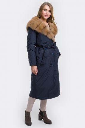 Прямое зимнее пальто на меху