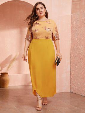 Платье с контрастными блестками и сеткой размера плюс