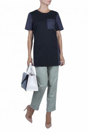 Синяя удлиненная футболка