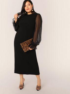 Прозрачное платье с оригинальным рукавом и разрезом размера плюс