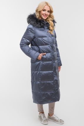 Стеганое женское прямое пальто с мехом