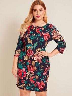 Платье на запах с цветочным принтом размера плюс