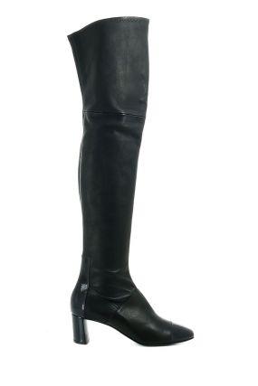 Черные сапоги-чулки выше колена