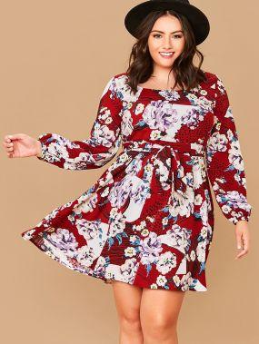 Цветочное платье размера плюс с поясом и рукавом фонарик