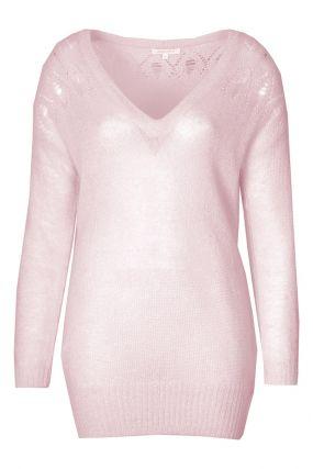 Розовый пуловер с ажурной отделкой