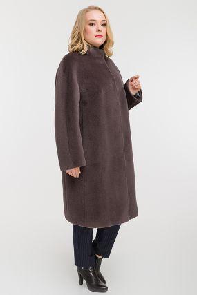 Длинное прямое пальто из альпака на большой размер
