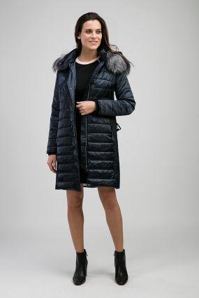 Демисезонное прямое женское пальто с мехом чернобурки