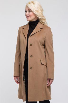Стильное полуприталенное шерстяное пальто средней длины