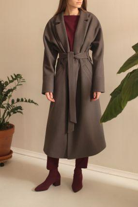 Пальто-халат Черешня с кулиской на спине из сукна серо-зеленое  (42-46)