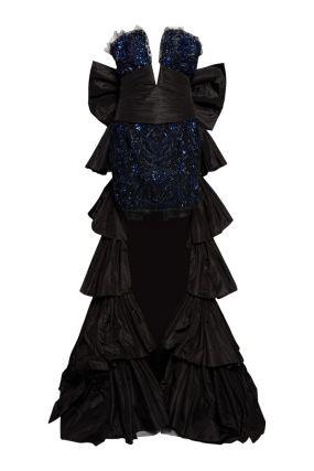 Комбинированное платье со шлейфом