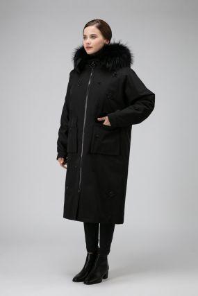 Женское длинное пальто на меху кролика с капюшоном