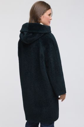 Женское пальто из альпака с капюшоном для больших размеров