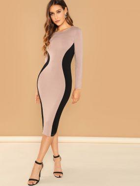Контрастное платье-карандаш