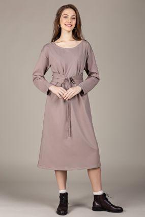 Платье-кардиган Черешня трикотажное с поясом цвета какао (40-46)