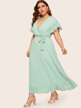 Платье со складками, v-образным вырезом и поясом размера плюс