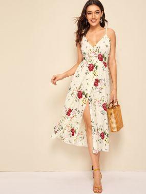 Платье на бретелях с цветочным принтом и узлом